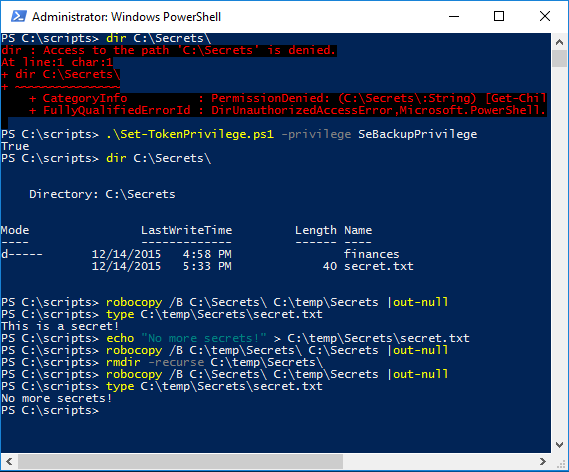 Accessing files using backup privilege in PowerShell
